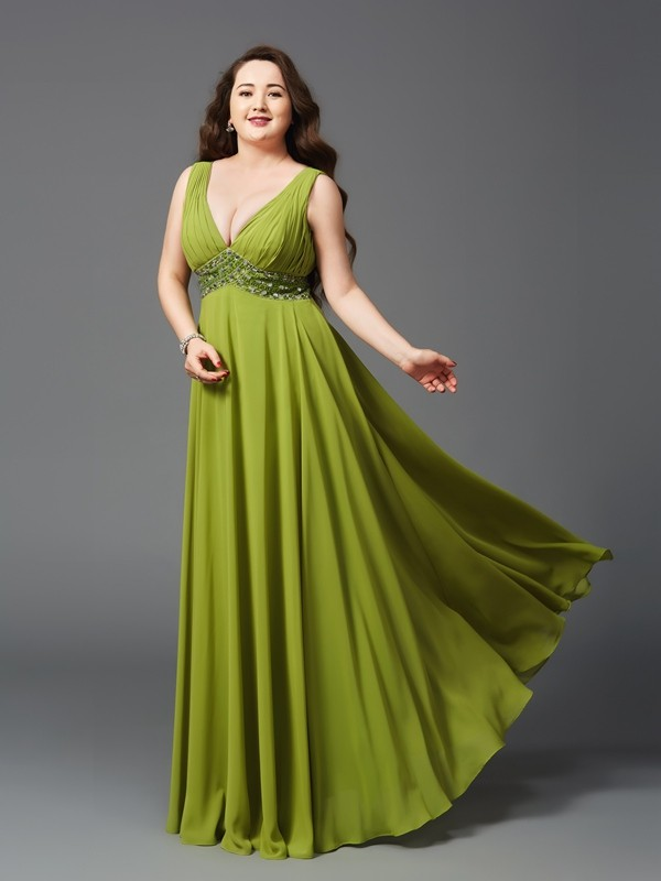 Lively Identity Princess Style Straps Rhinestone Long Chiffon Plus Size Dresses