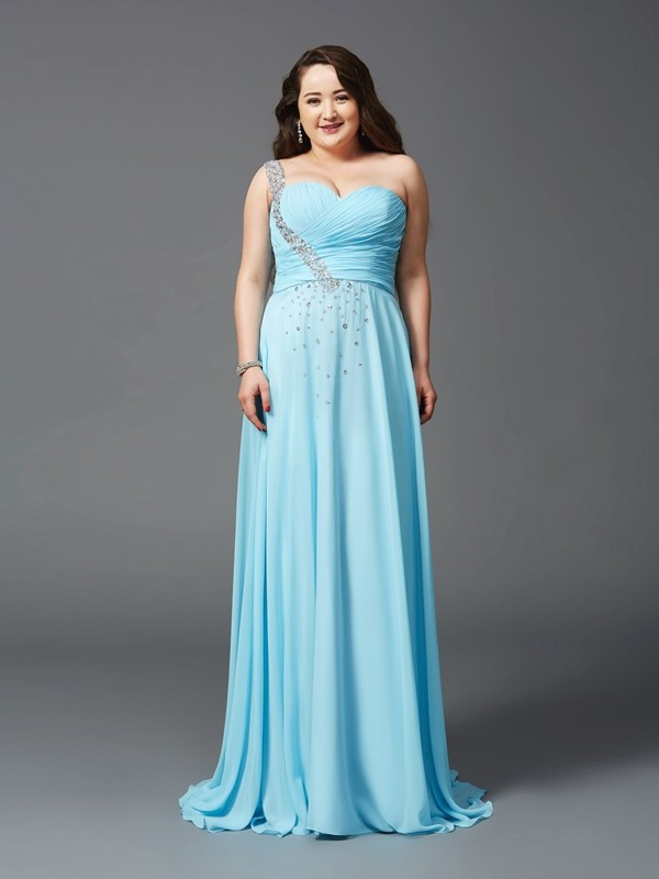 Vibrant Stylist Princess Style One-Shoulder Rhinestone Long Chiffon Plus Size Dresses