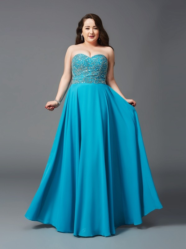 Romantic Vibes Princess Style Sweetheart Beading Long Chiffon Plus Size Dresses