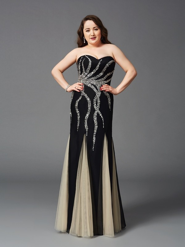 Beautiful You Sheath Style Sweetheart Beading Long Chiffon Plus Size Dresses