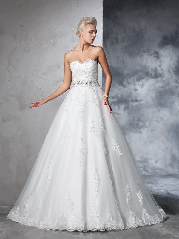 Dashing Darling Ball Gown Sweetheart Applique Long Net Wedding Dresses