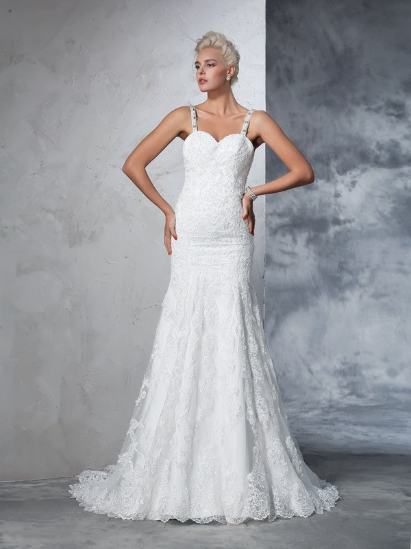 Befits Your Brilliance Mermaid Style Spaghetti Straps Lace Long Lace Wedding Dresses