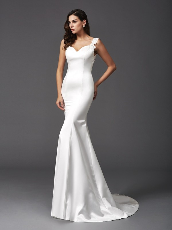 Glitz the Spot Mermaid Style Straps Beading Long Satin Wedding Dresses