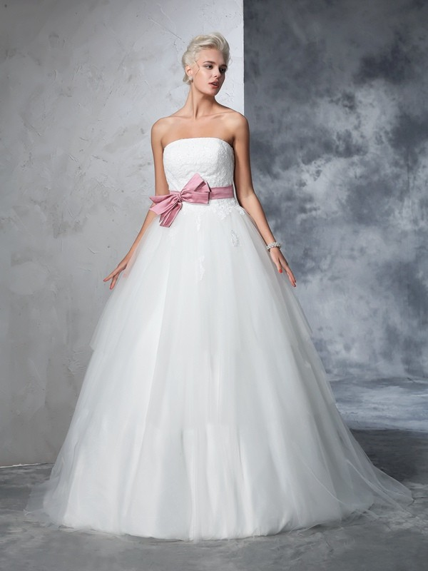 Absolute Lovely Ball Gown Strapless Bowknot Long Net Wedding Dresses