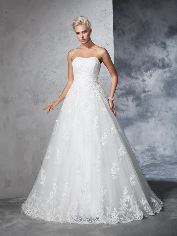 Chic Chic London Ball Gown Strapless Lace Long Lace Wedding Dresses