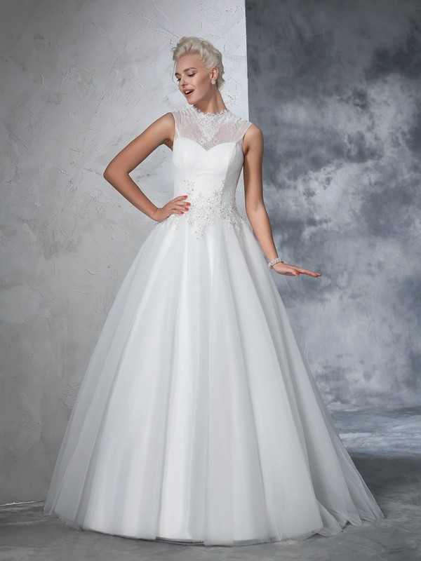 Time to Shine Ball Gown High Neck Applique Long Net Wedding Dresses