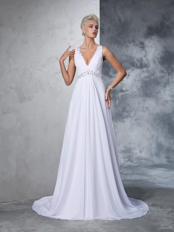 Creative Courage Princess Style V-neck Beading Long Chiffon Wedding Dresses