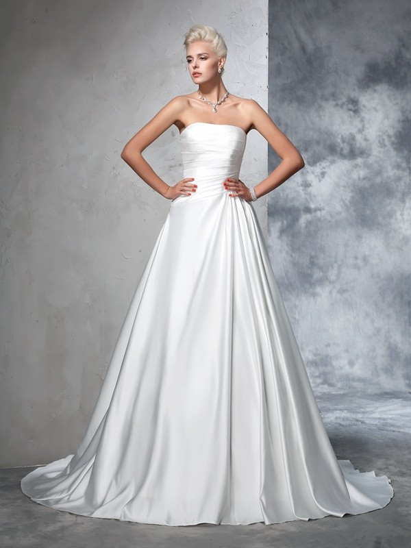 Efflorescent Dreams Ball Gown Strapless Ruched Long Satin Wedding Dresses