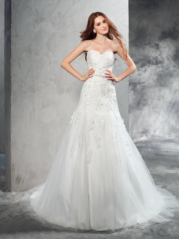 Voiced Vivacity Sheath Style Sweetheart Applique Long Satin Wedding Dresses