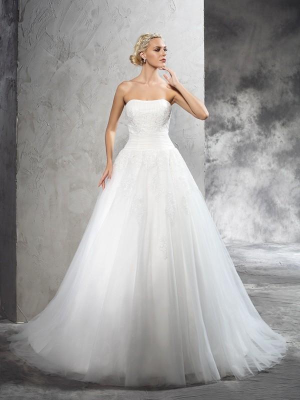 Sweet Sensation Ball Gown Strapless Applique Long Satin Wedding Dresses