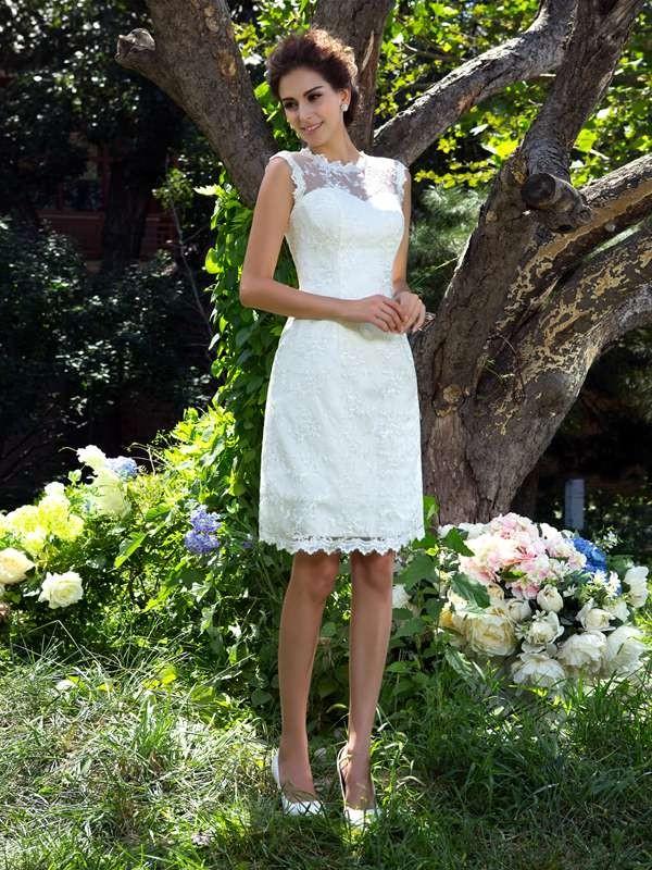 Styled to Smile Princess Style Sheer Neck Applique Short Satin Wedding Dresses