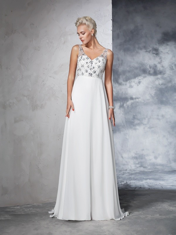 Pretty Looks Princess Style V-neck Beading Long Chiffon Wedding Dresses
