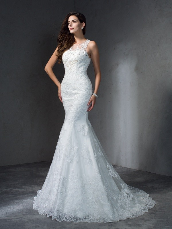 Visual Moment Mermaid Style Scoop Applique Long Lace Wedding Dresses