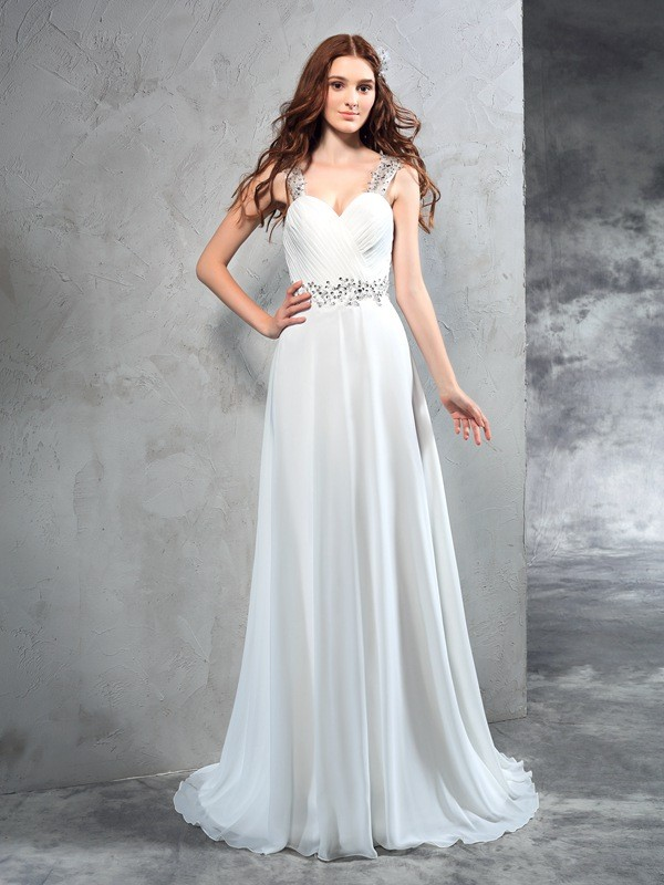 Lively Identity Princess Style Sweetheart Pleats Long Chiffon Wedding Dresses