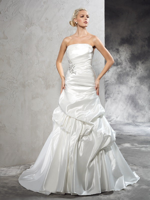 Yours Truly Sheath Style Strapless Pleats Long Satin Wedding Dresses
