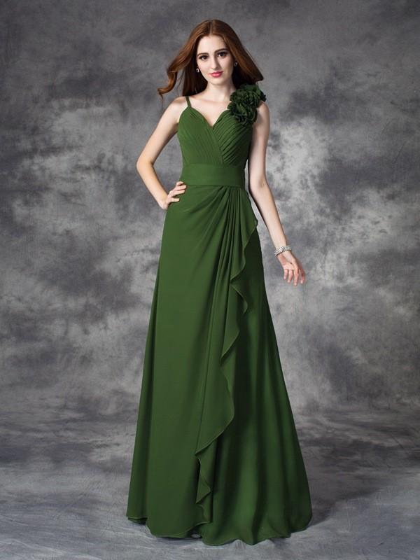 Pleasant Emphasis Princess Style V-neck Hand-Made Flower Long Chiffon Bridesmaid Dresses