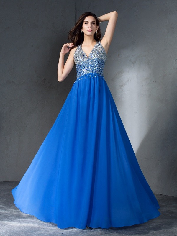 Time to Shine Princess Style V-neck Beading Long Chiffon Dresses