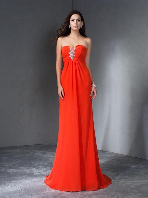 Automatic Classic Princess Style Sweetheart Beading Long Chiffon Dresses