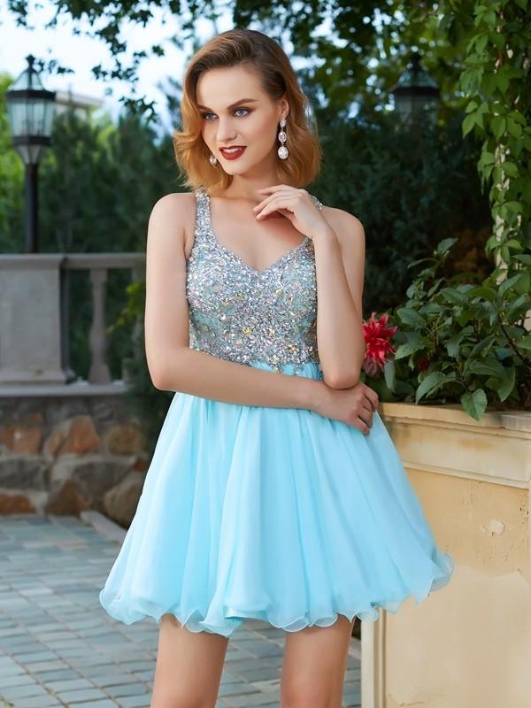 Cheerful Spirit Princess Style Rhinestone Straps Short/Mini Chiffon Dresses