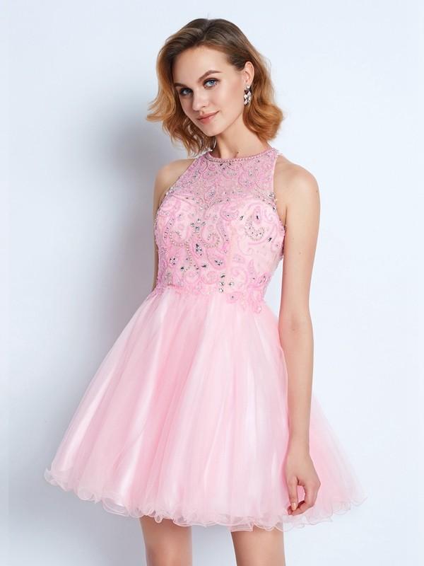 Open to Adoration Princess Style Jewel Short/Mini Net Ruffles Dresses