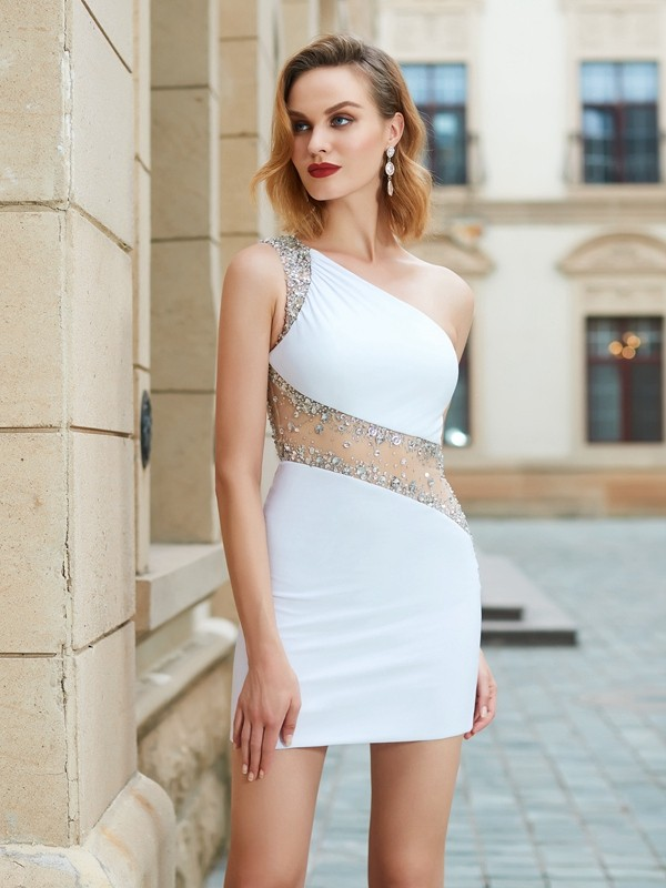 Memorable Magic Sheath Style One-Shoulder Beading Short/Mini Net Dresses