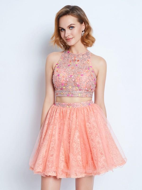Time to Shine Princess Style Jewel Lace Beading Short/Mini Two Piece Dresses