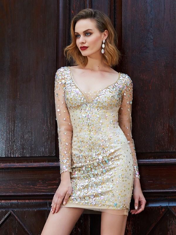 Embracing Grace Sheath Style Scoop Net Rhinestone Short/Mini Dresses