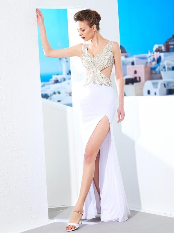 Fresh Picks Sheath Style V-neck Beading Floor-Length Spandex Dresses