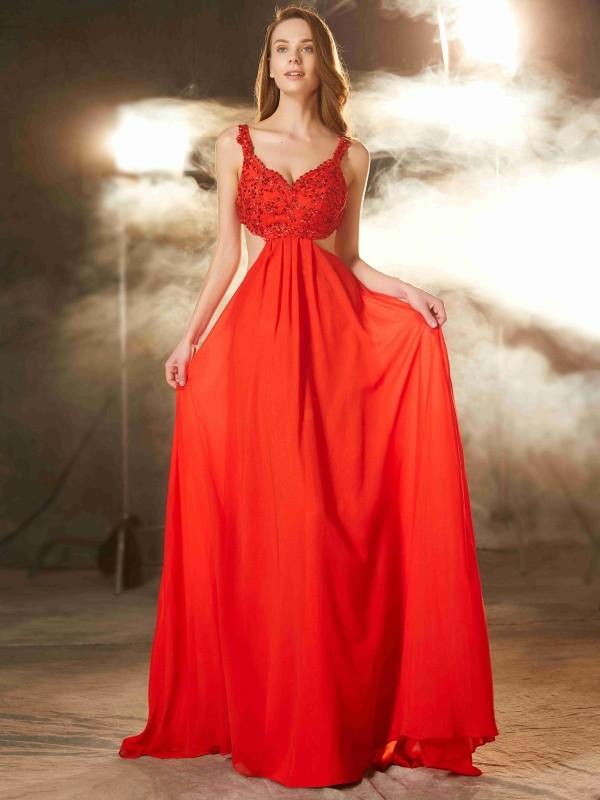 Pleasant Emphasis Princess Style Straps Sweep/Brush Train Applique Chiffon Dresses