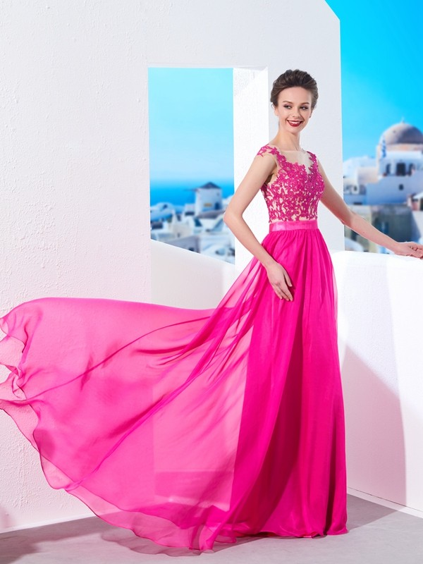 Easily Adored Princess Style Sheer Neck Sweep/Brush Train Applique Chiffon Dresses