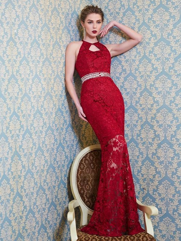 Creative Courage Sheath Style Jewel Beading Floor-Length Lace Dresses