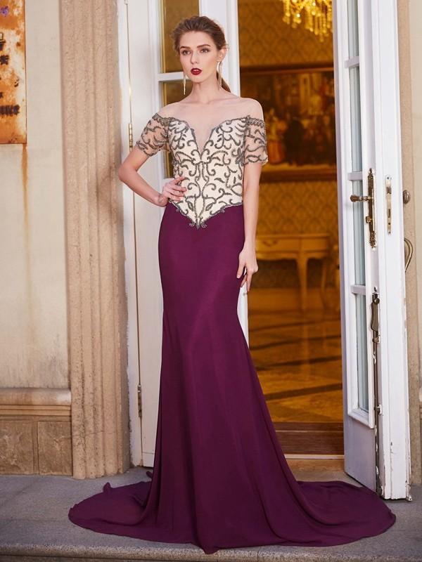 Efflorescent Dreams Sheath Style Sheer Neck Court Train Beading Chiffon Dresses