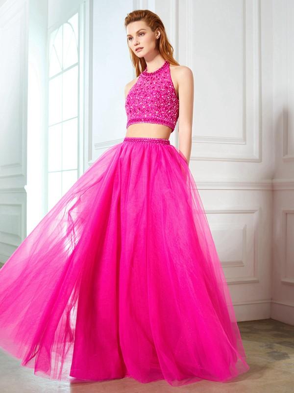 Sweet Sensation Princess Style Halter Beading Net Floor-Length Two Piece Dresses