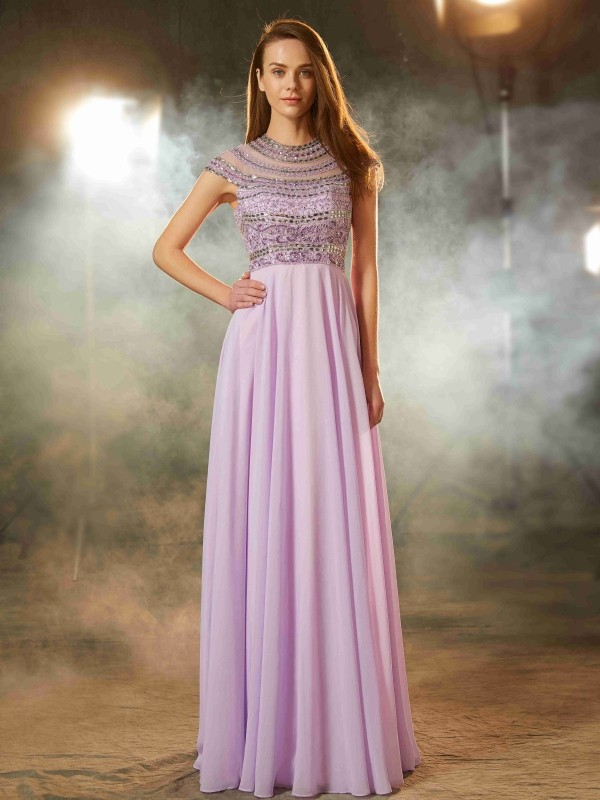 Time to Shine Princess Style Scoop Floor-Length Beading Chiffon Dresses
