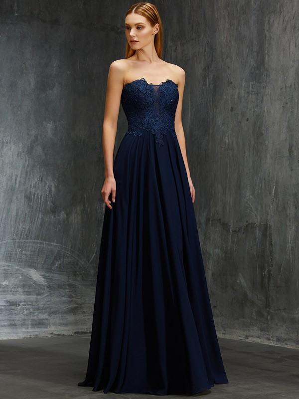 Dancing Queen Princess Style Sweetheart Floor-Length Applique Chiffon Dresses