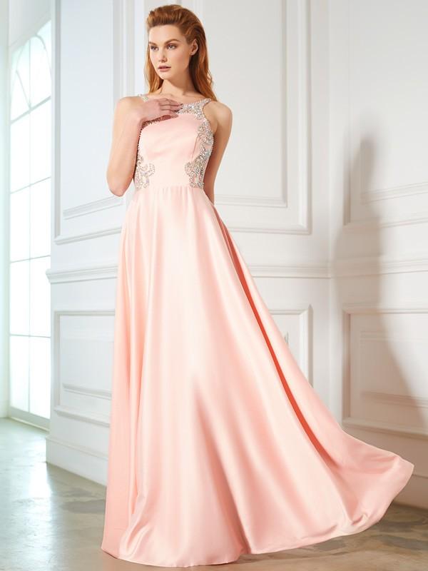 Pretty Looks Princess Style Scoop Beading Satin Floor-Length Dresses