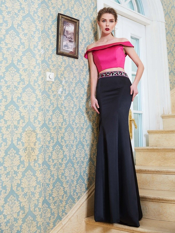 Voiced Vivacity Mermaid Style Off-the-Shoulder Floor-Length Beading Satin Two Piece Dresses