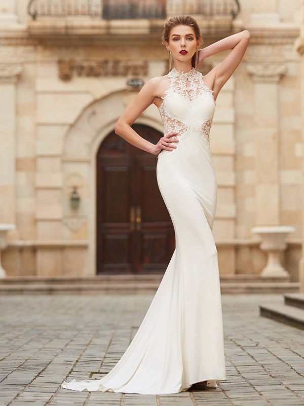 Automatic Classic Mermaid Style High Neck Sweep/Brush Train Applique Spandex Dresses