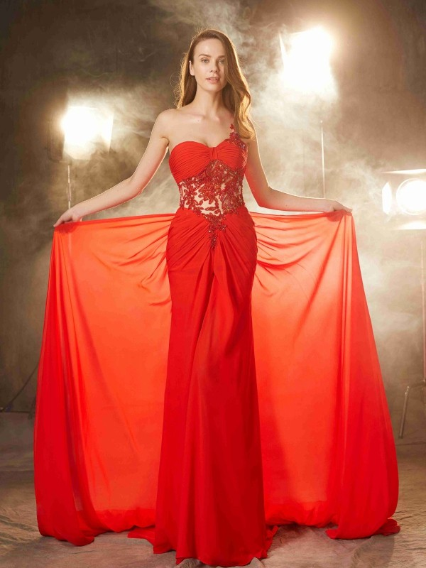 Creative Courage Sheath Style One-Shoulder Sweep/Brush Train Beading Chiffon Dresses