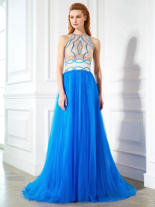 Pleased to be Me Princess Style Jewel Beading Floor-Length Net Dresses