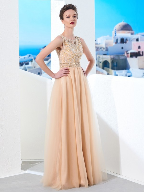Befits Your Brilliance Princess Style Scoop Floor-Length Beading Tulle Dresses