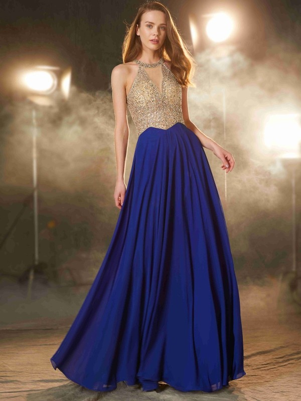 Efflorescent Dreams Princess Style Scoop Floor-Length Crystal Chiffon Dresses
