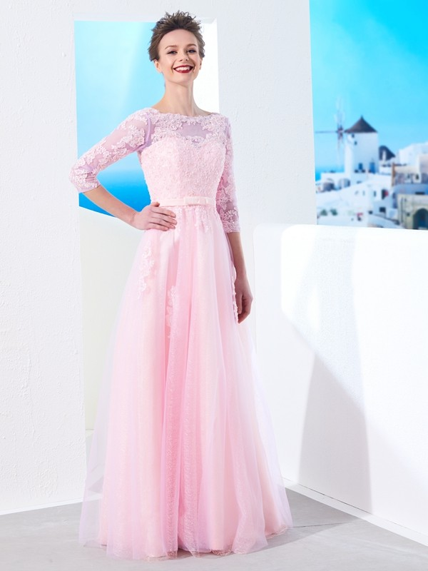 Glitz the Spot Princess Style Bateau Floor-Length Applique Tulle Dresses