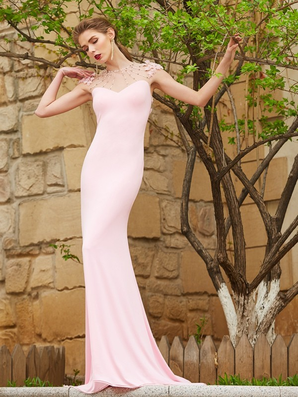Cordially Delighted Mermaid Style Jewel Sweep/Brush Train Beading Spandex Dresses