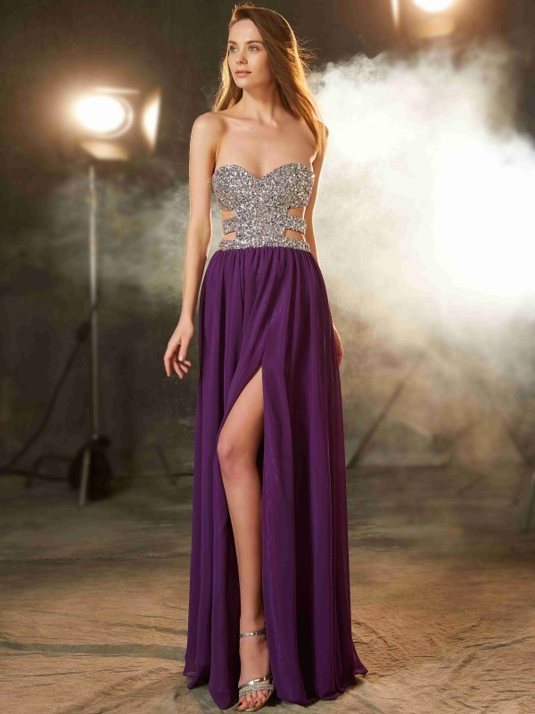 Voiced Vivacity Princess Style Sweetheart Crystal Floor-Length Chiffon Dresses