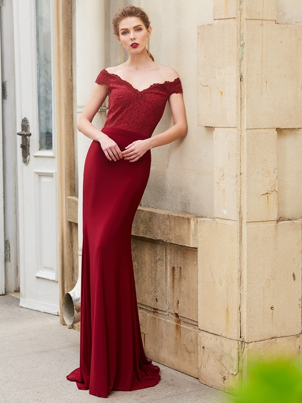 Festive Self Mermaid Style Off-the-Shoulder Lace Spandex Sweep/Brush Train Dresses