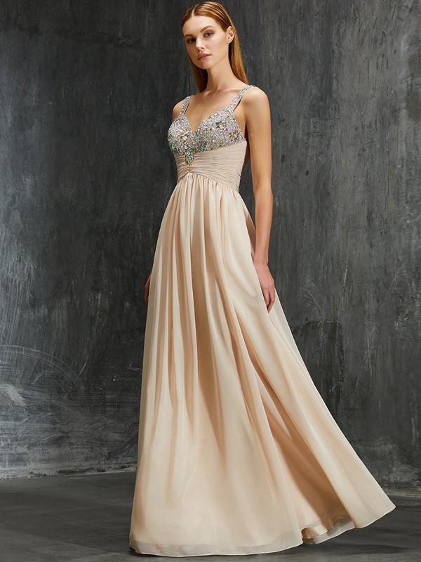 Fabulous Fit Princess Style Spaghetti Straps Beading Floor-Length Chiffon Dresses