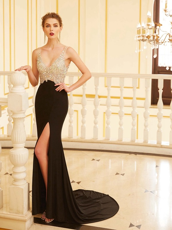 Styled to Smile Sheath Style V-neck Beading Sweep/Brush Train Spandex Dresses