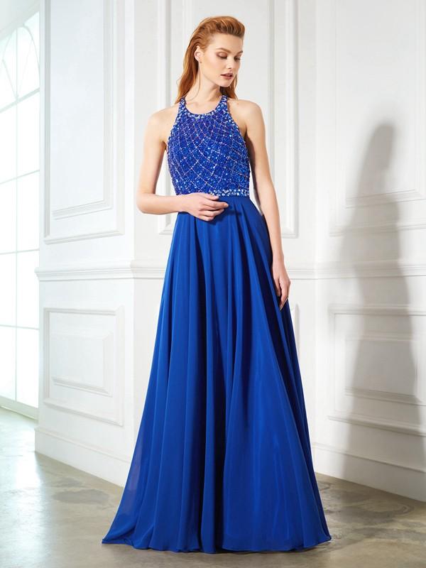 Visual Moment Princess Style Jewel Beading Chiffon Sweep/Brush Train Dresses
