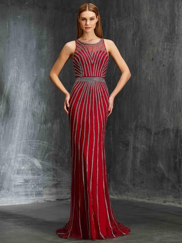 Vibrant Stylist Sheath Style Scoop Beading Net Sweep/Brush Train Dresses